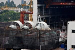 Zubr-luokan ilmatyynyalus valmistumassa kiinalaisella telakalla. Kuva China Defense