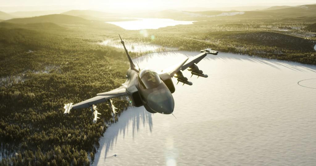 Ruotsin_Ilmavoimien_Gripen_talviauringossa_1_low