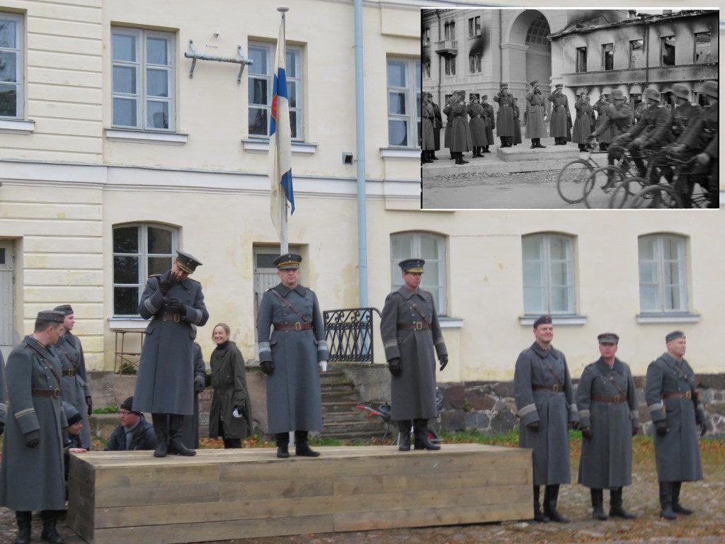 Kenraali A.E. Heinrichs vastaanotti alkuperäisen paraatin Äänislinnassa (Petroskoi) 12.10.1941