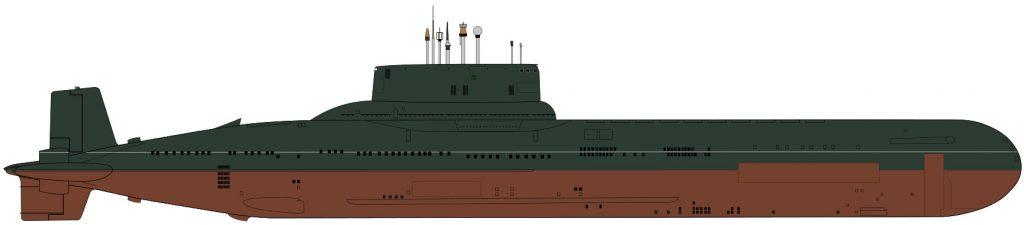 Havainnekuva Akula -luokan (Typhoon) -sukellusveneesta. Kuva: Mike1979Russia cc-lisenssillä