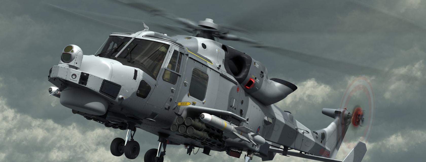 MBDA Sea Venom/ANL -monitoimiohjuksilla aseistettu AgustaWestland AW159 Wildcat -helikopteri.